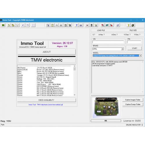 TMW Immo Tool купить программу для отключения иммобилайзера